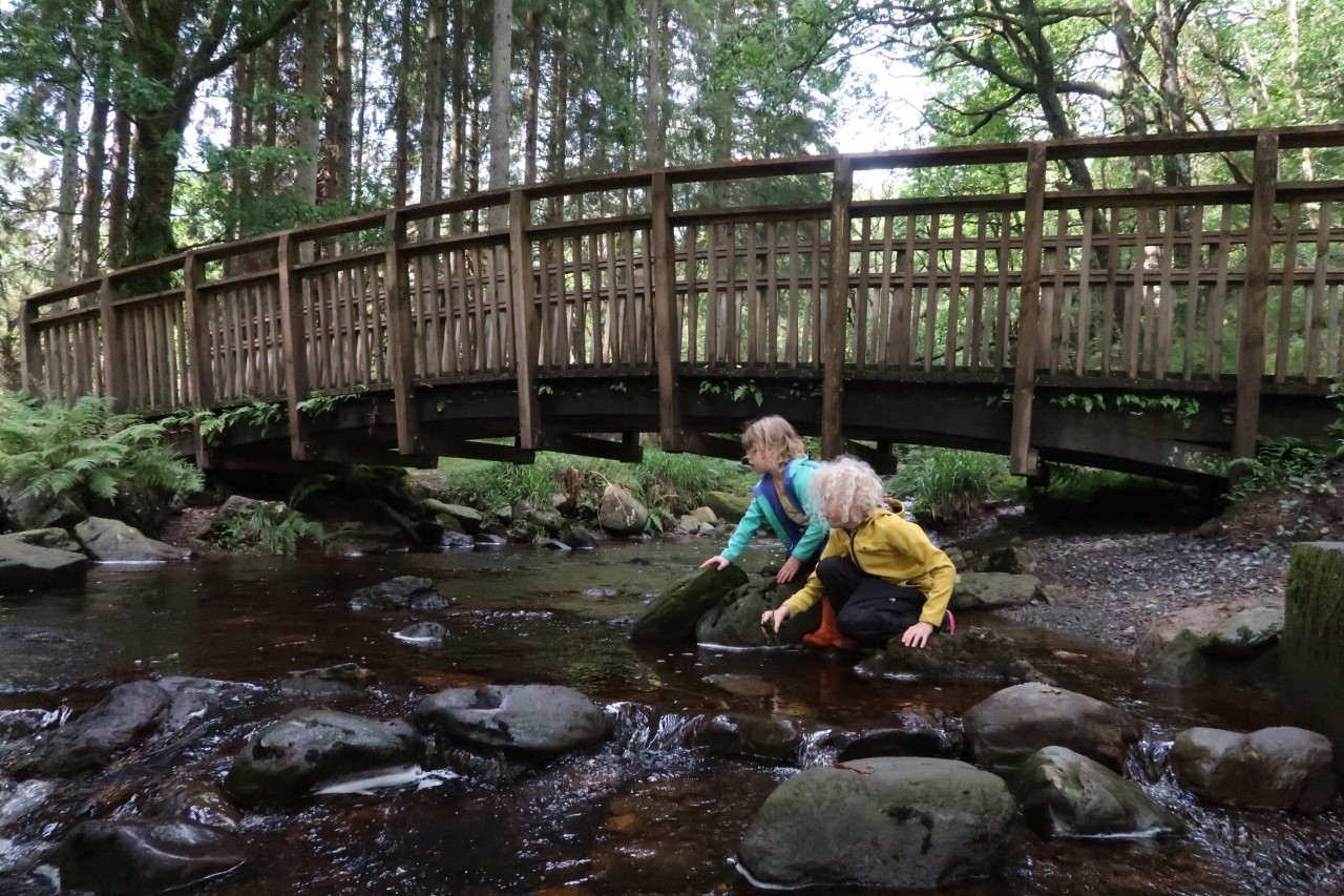 children playing in stream Aberfoyle