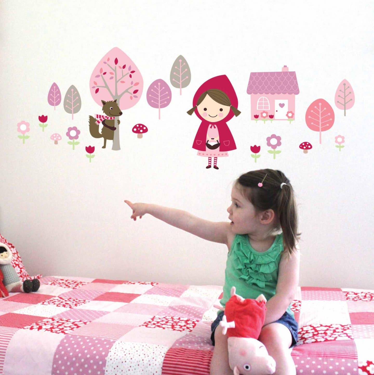 Red Riding Hood Wall Stickers - Kids Bedroom Wall Art - Lovably Me