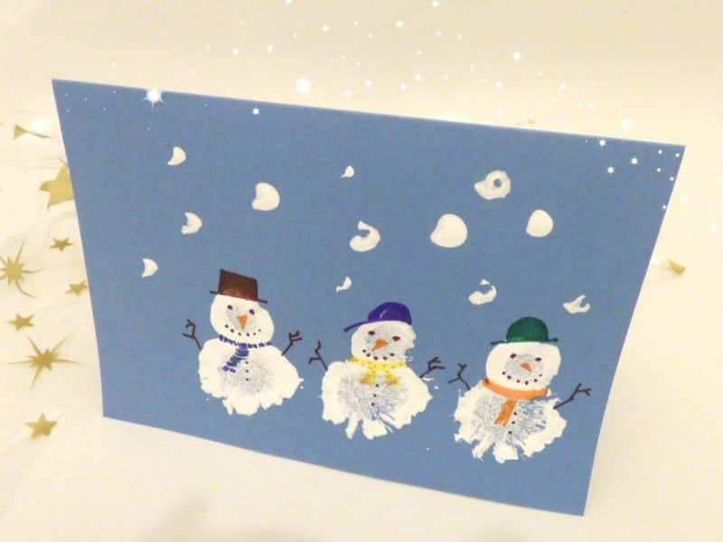 3f41bf07321b Snowman Pom Pom Card  Kid Made Christmas Card - Monkey and Mouse
