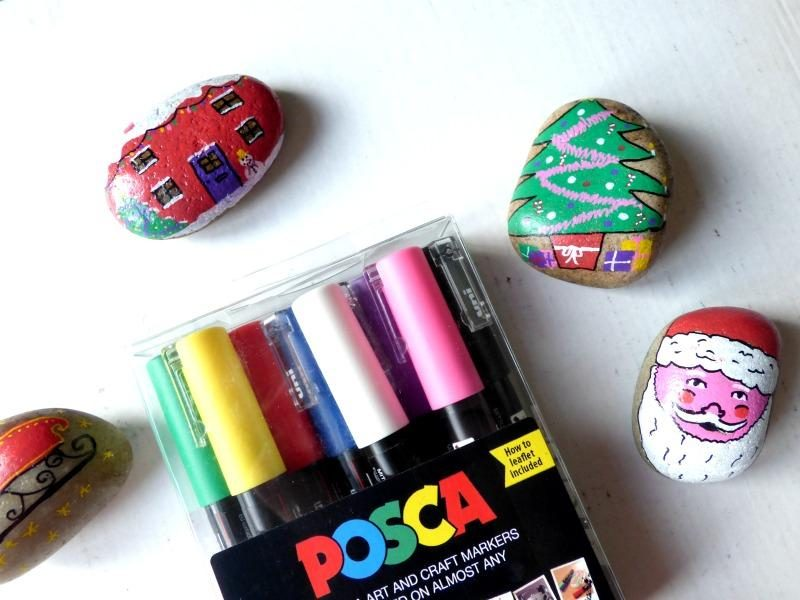 Christmas Story Stones and Competition With Posca - Monkey and Mouse