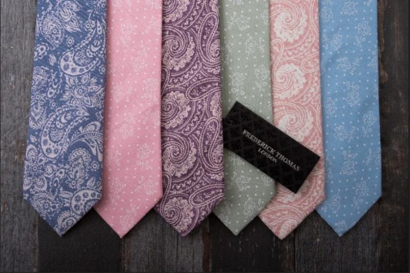 mens colourful paisley ties in a row
