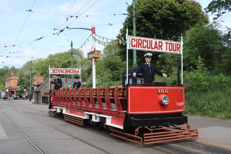 Crich red single decker tram