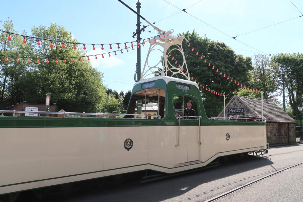 tram shaped like a boat at Crich