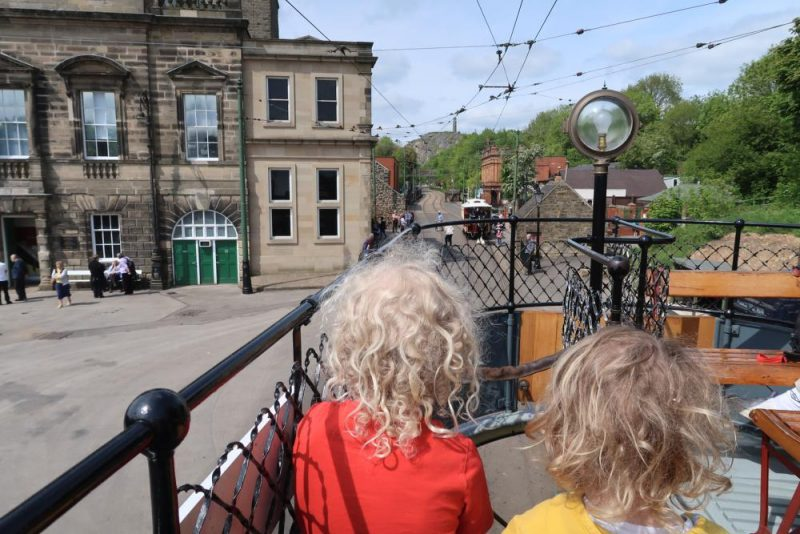 double decker tram at Crich tramway museum