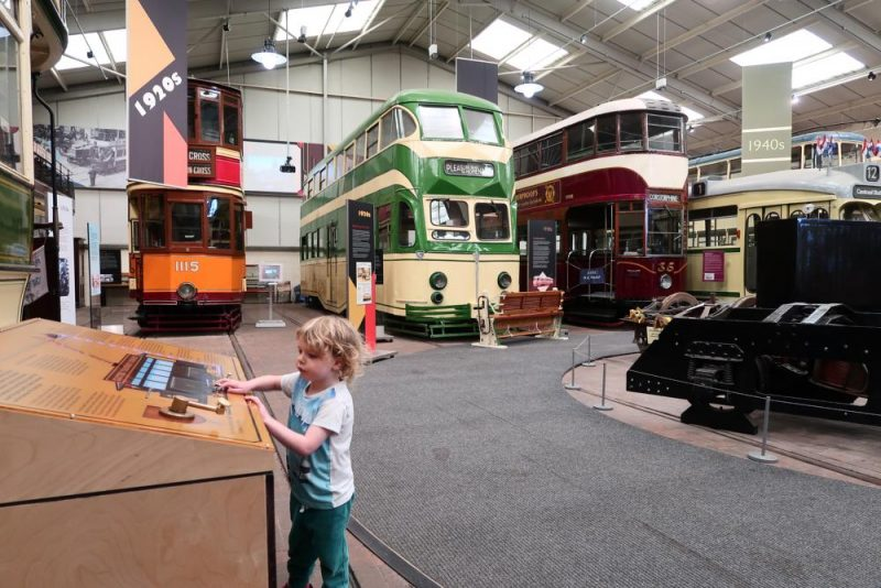 looking at exhibits in Crich tram museum