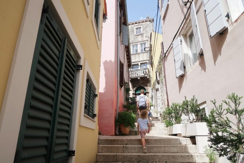 walking along Rovinj streets