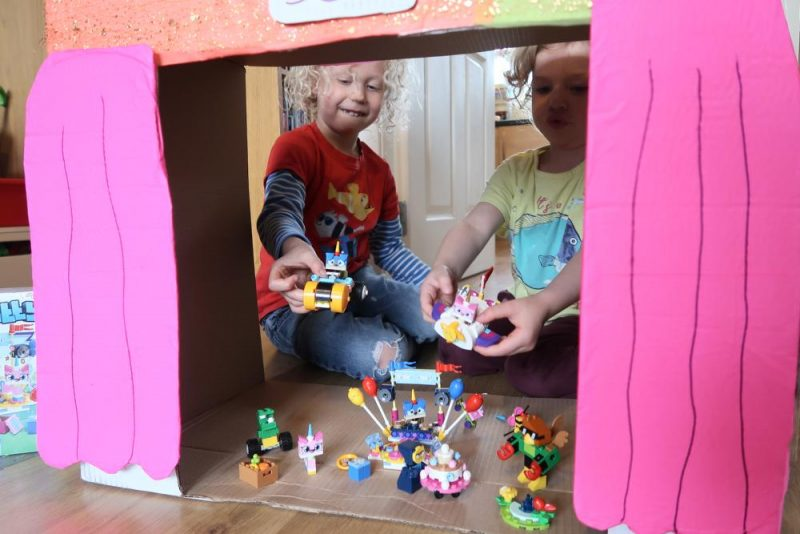 unikitty playset in DIY cardboard theatre
