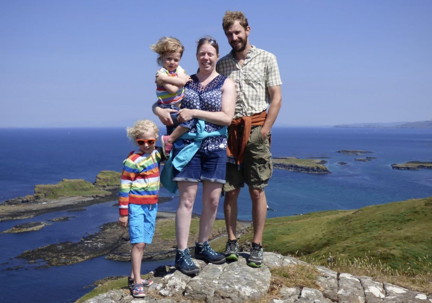 family of 4 on Lunga Mull blog