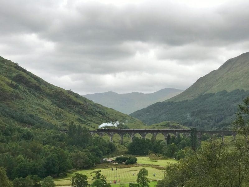 Glenfinnan viaduct train over bridge Harry Potter
