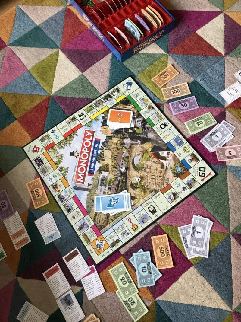 playing monopoly with family