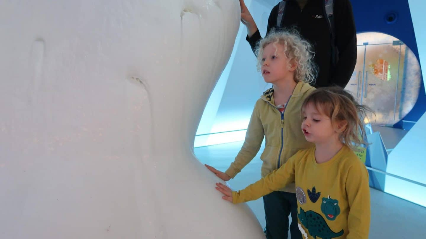 Touching an iceberg at Edinburgh's Dynamic Earth museum