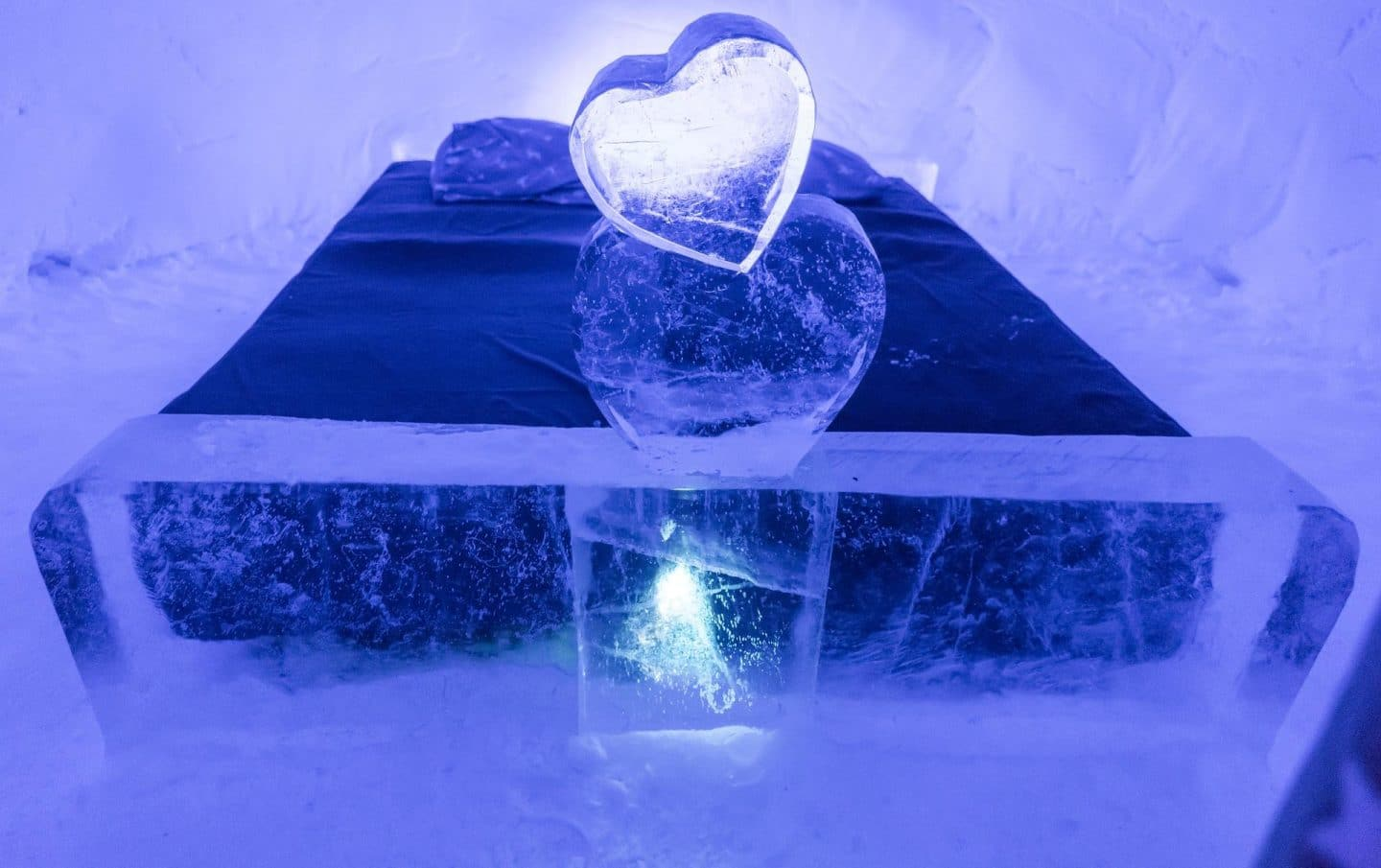 Swedish ice hotel bedroom