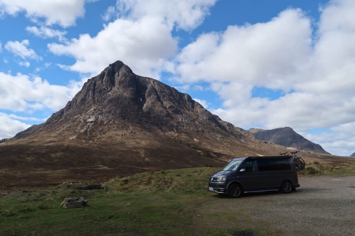 campervan in front of mountains