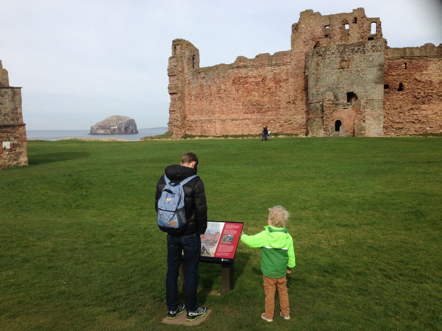 family visiting Tantallon castle