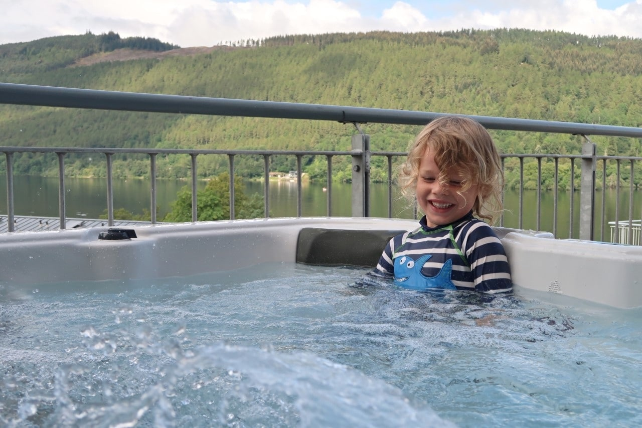 child in hot tub