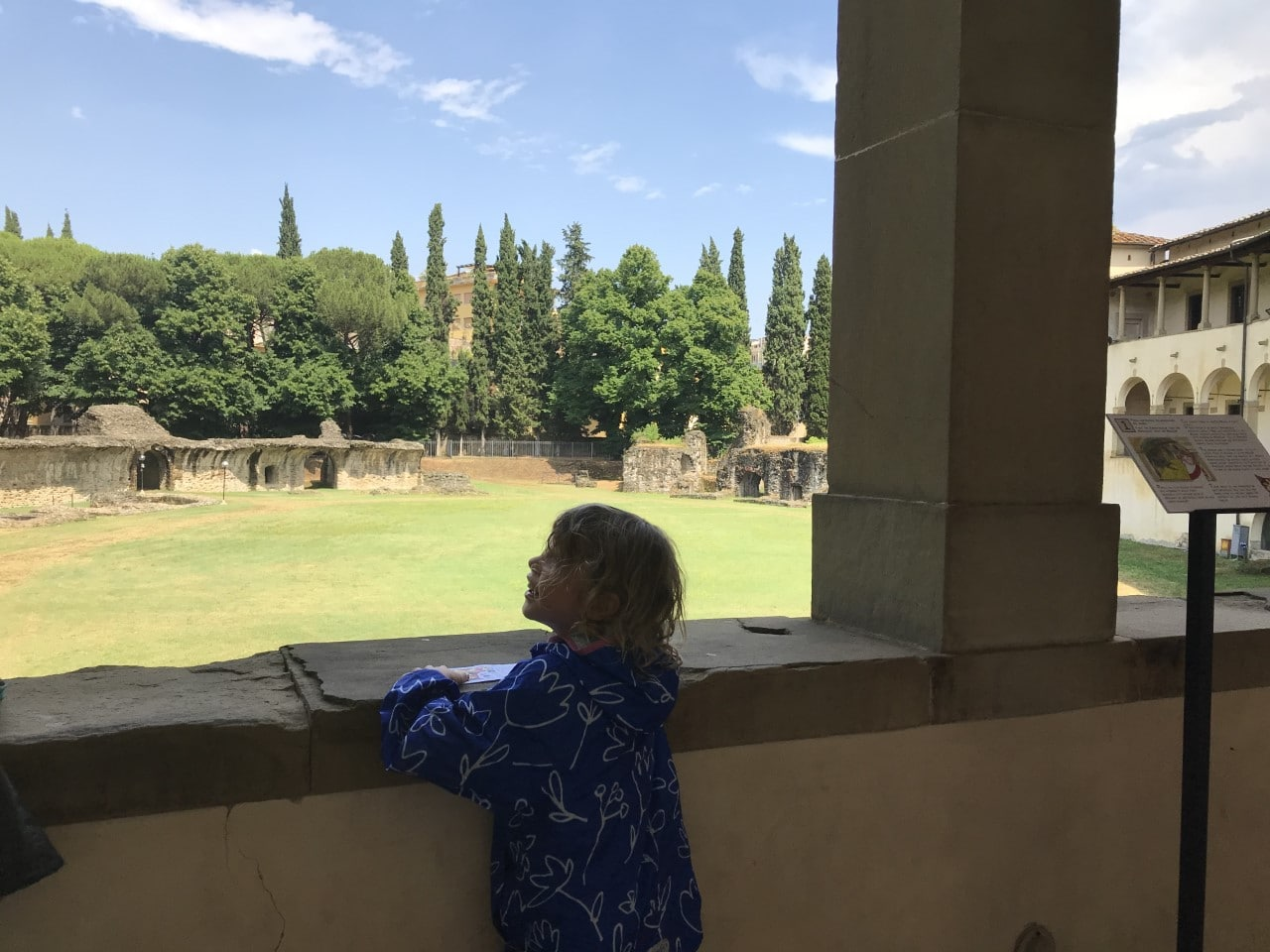 child looking at amphitheatre