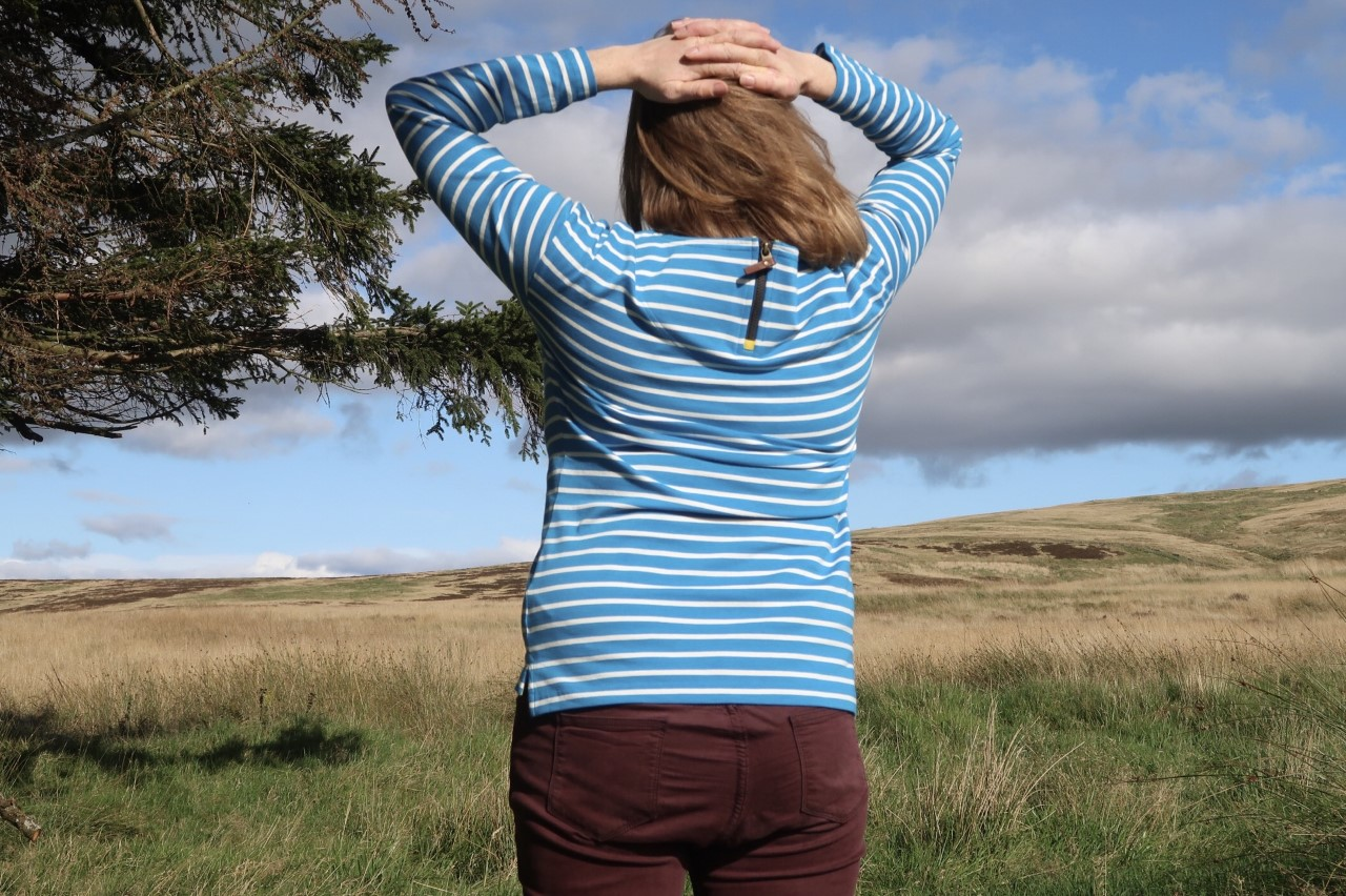 Back detail of striped top