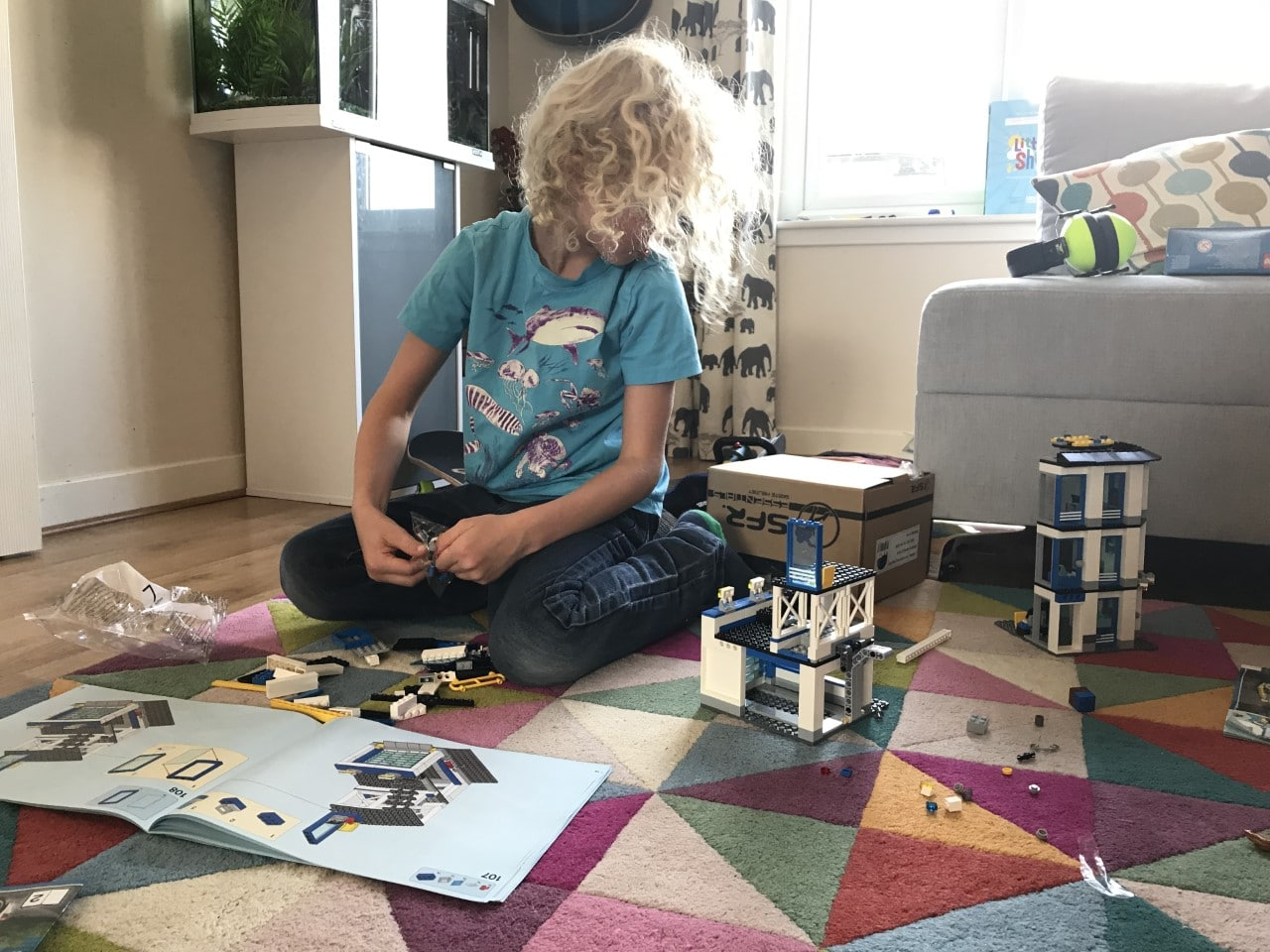 child building lego