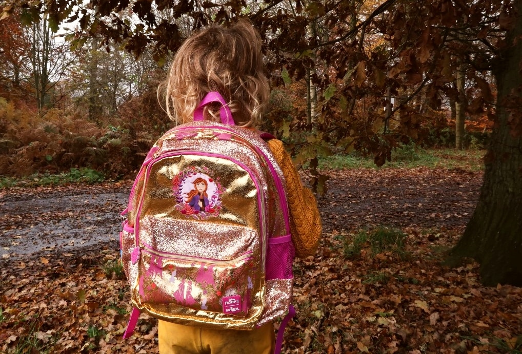 Child wearing Anna Frozen 2 Backpack