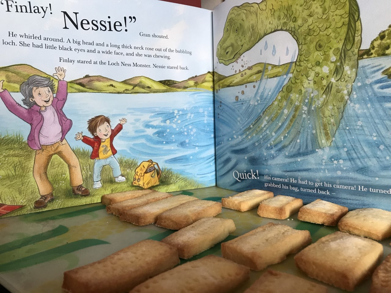 shortbread in front of Nessie book