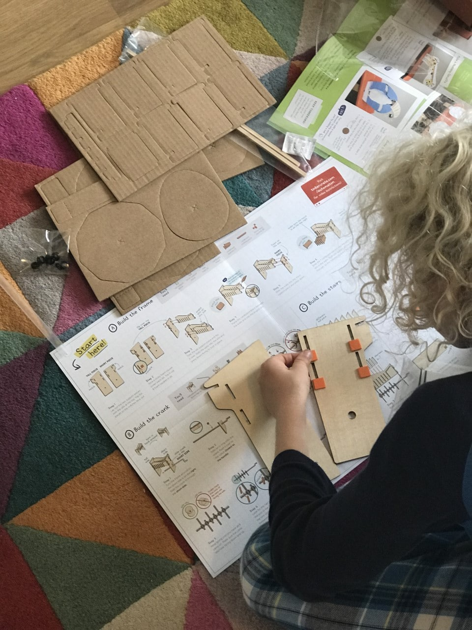 child reading instructions for subscription box