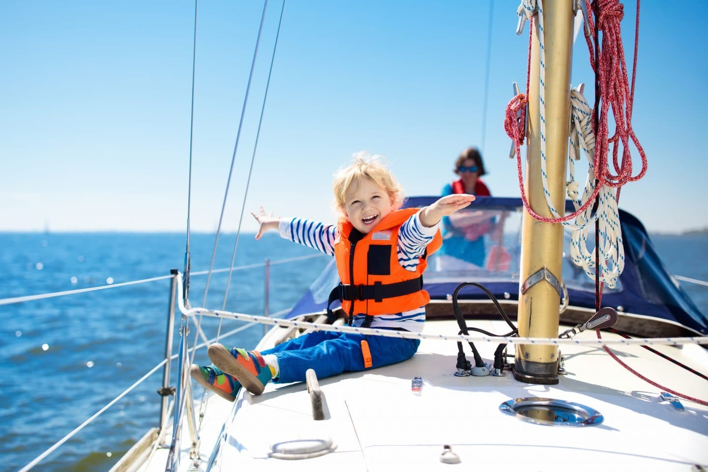 child on sailing boat trip