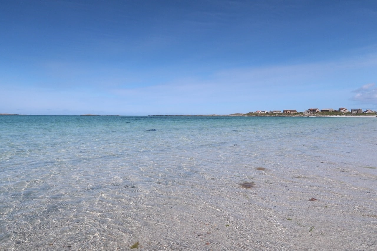 North Uist beach crystal clear water and white sand
