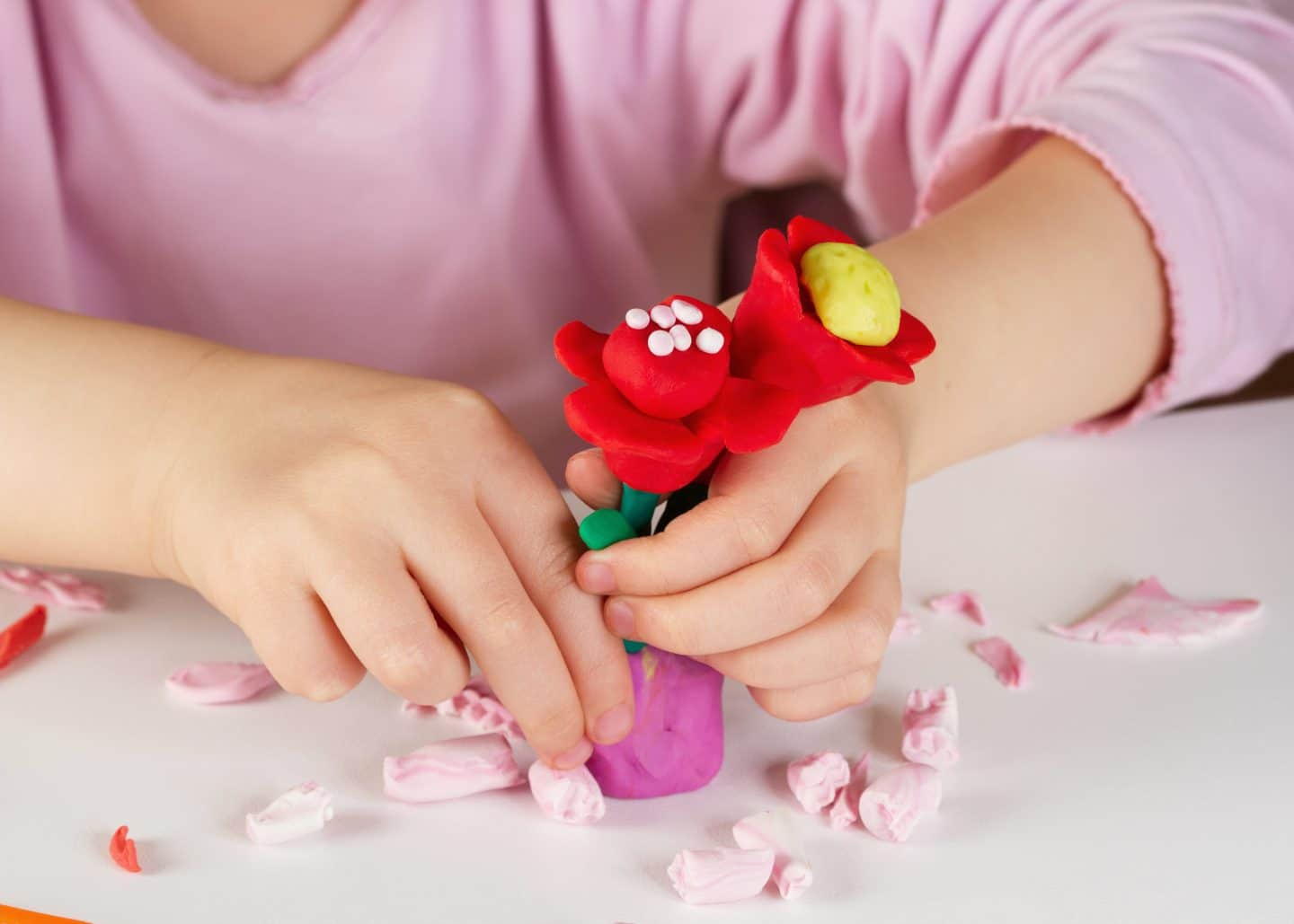 Making clay flowers kids