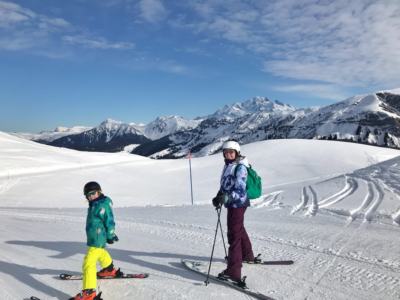 family ready for skiing in Alps