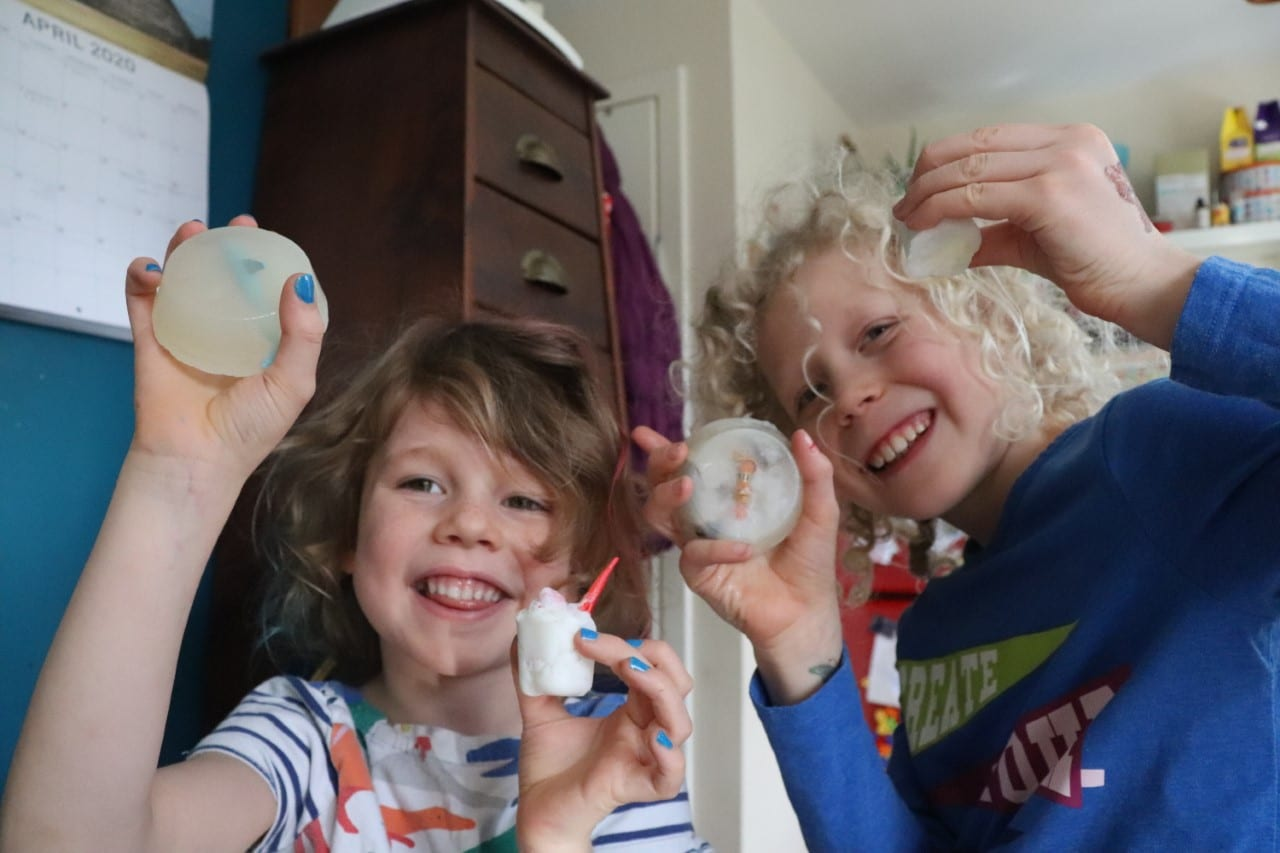 children with homemade soap