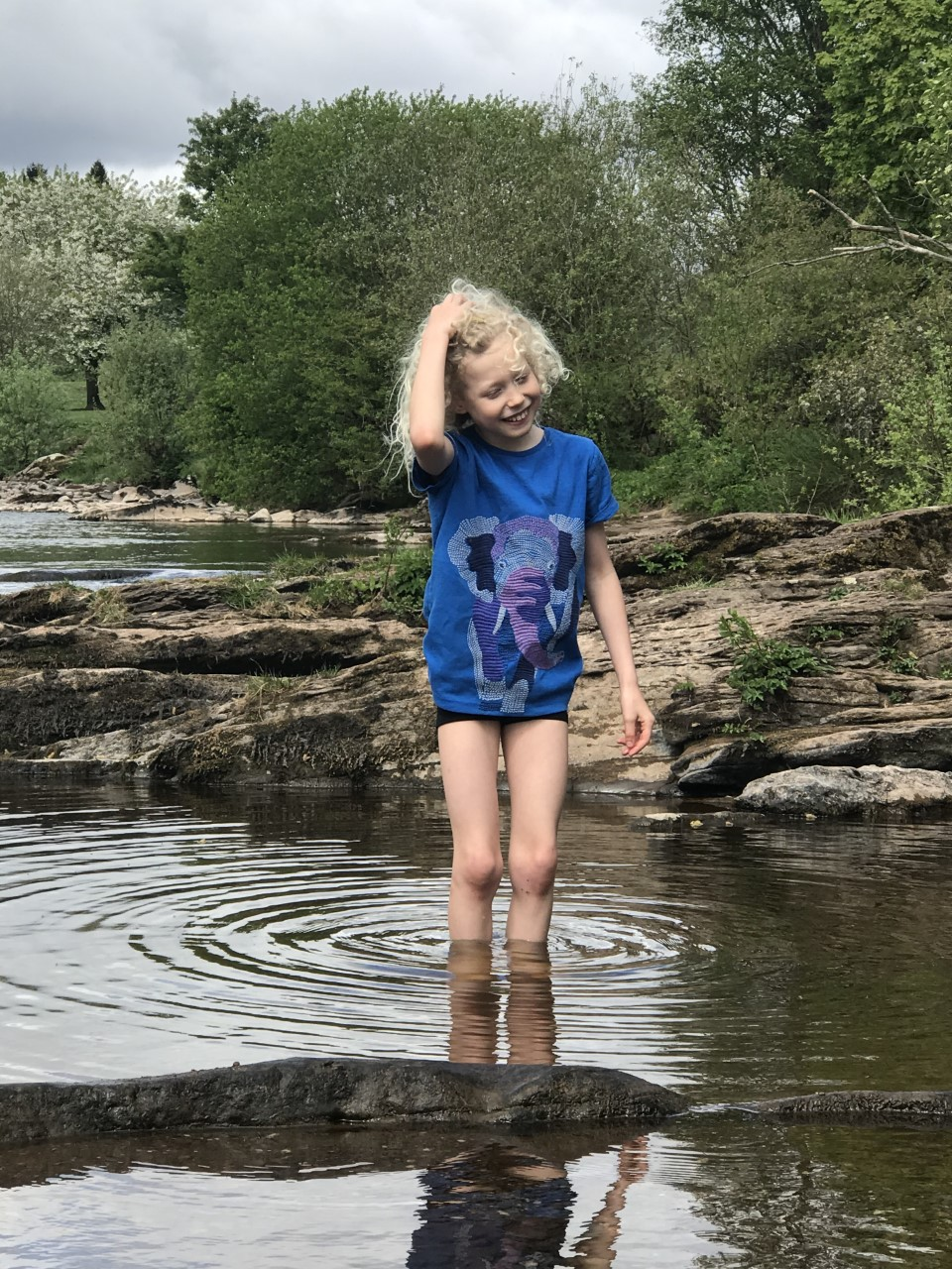 child playing in the river