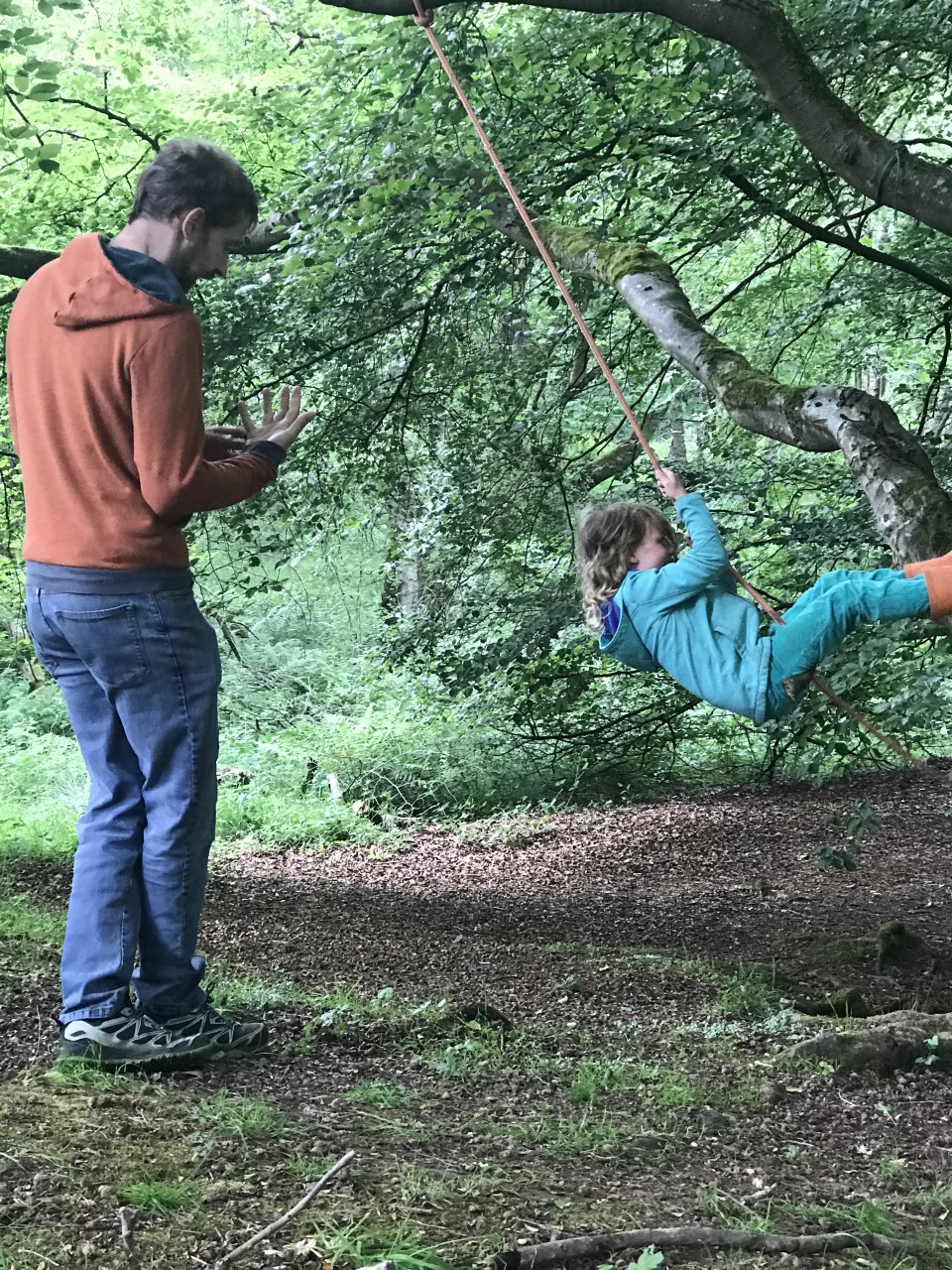 DIY rope swing in the woods