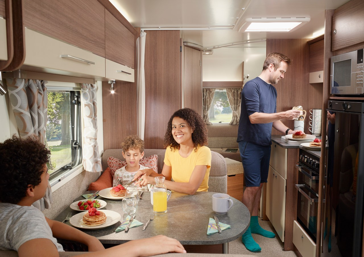 inside a caravan with family