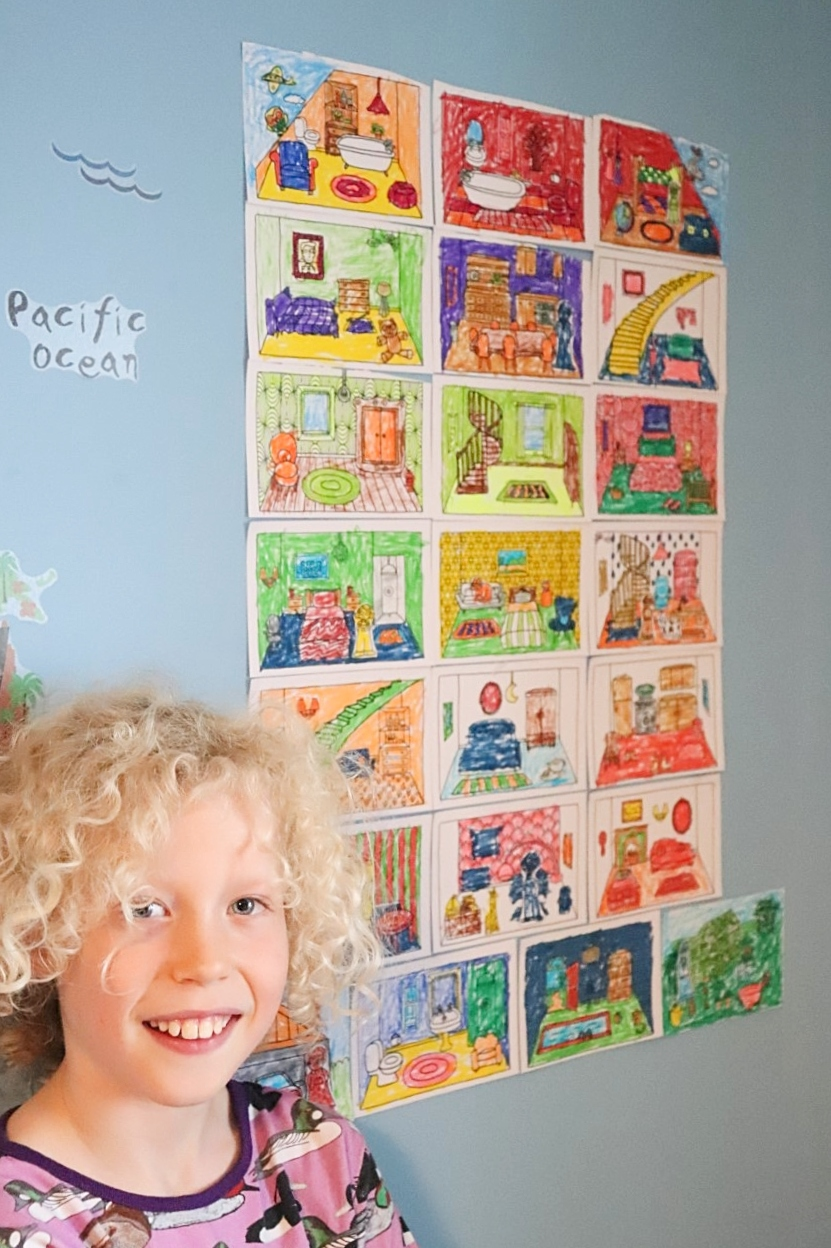 postcard house colouring