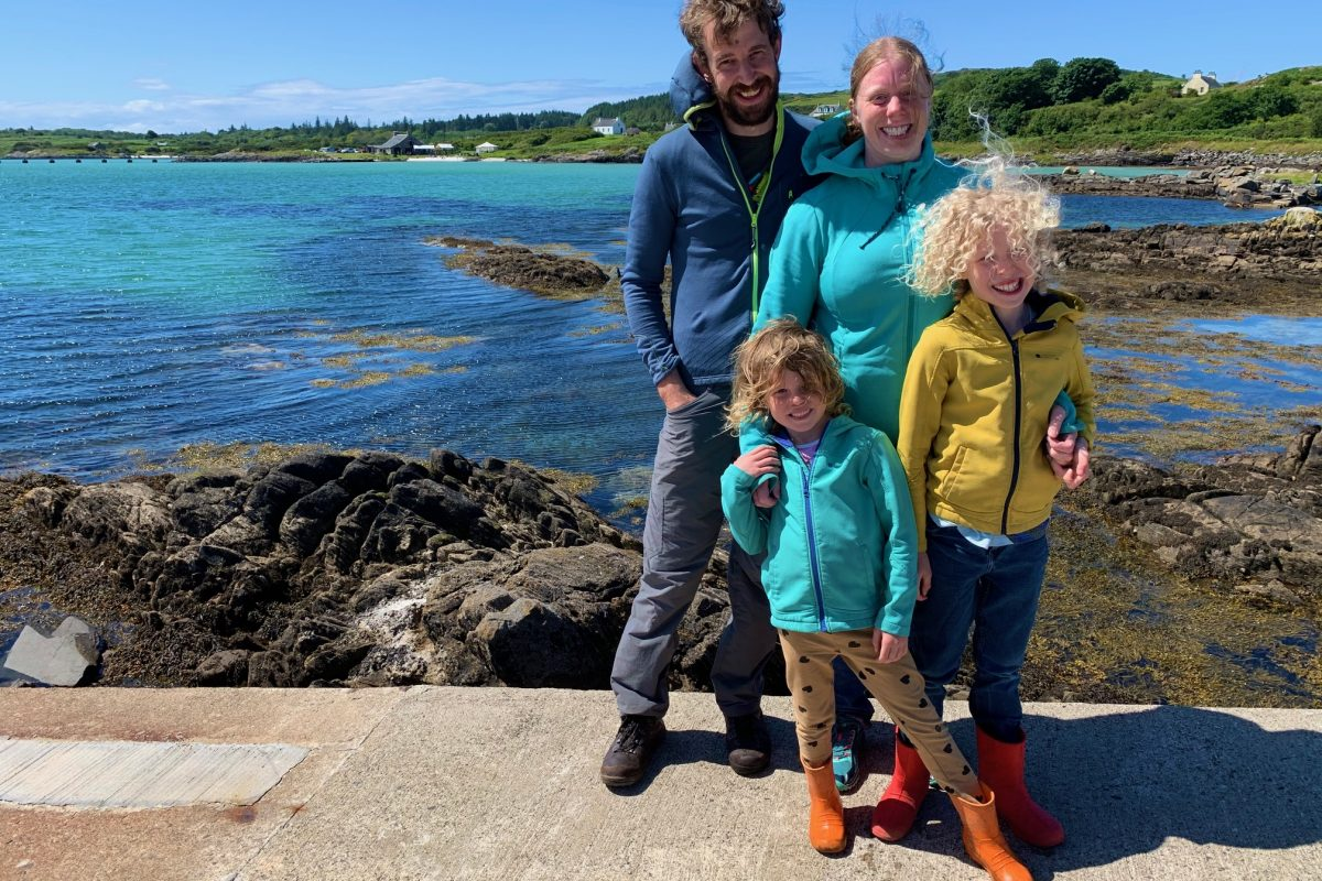 Family at Gigha pier