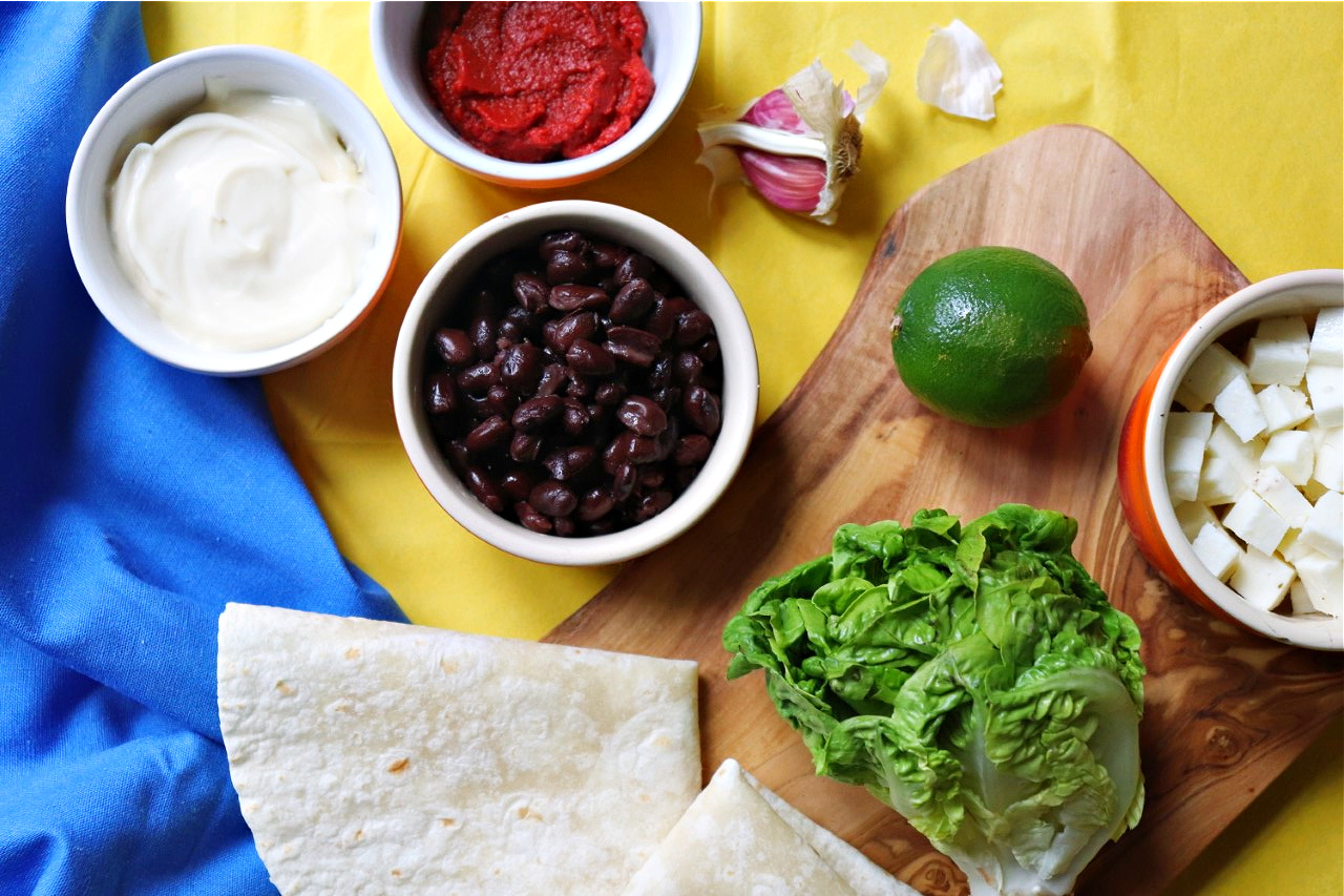 ingredients for refried beans and halloumi tacos