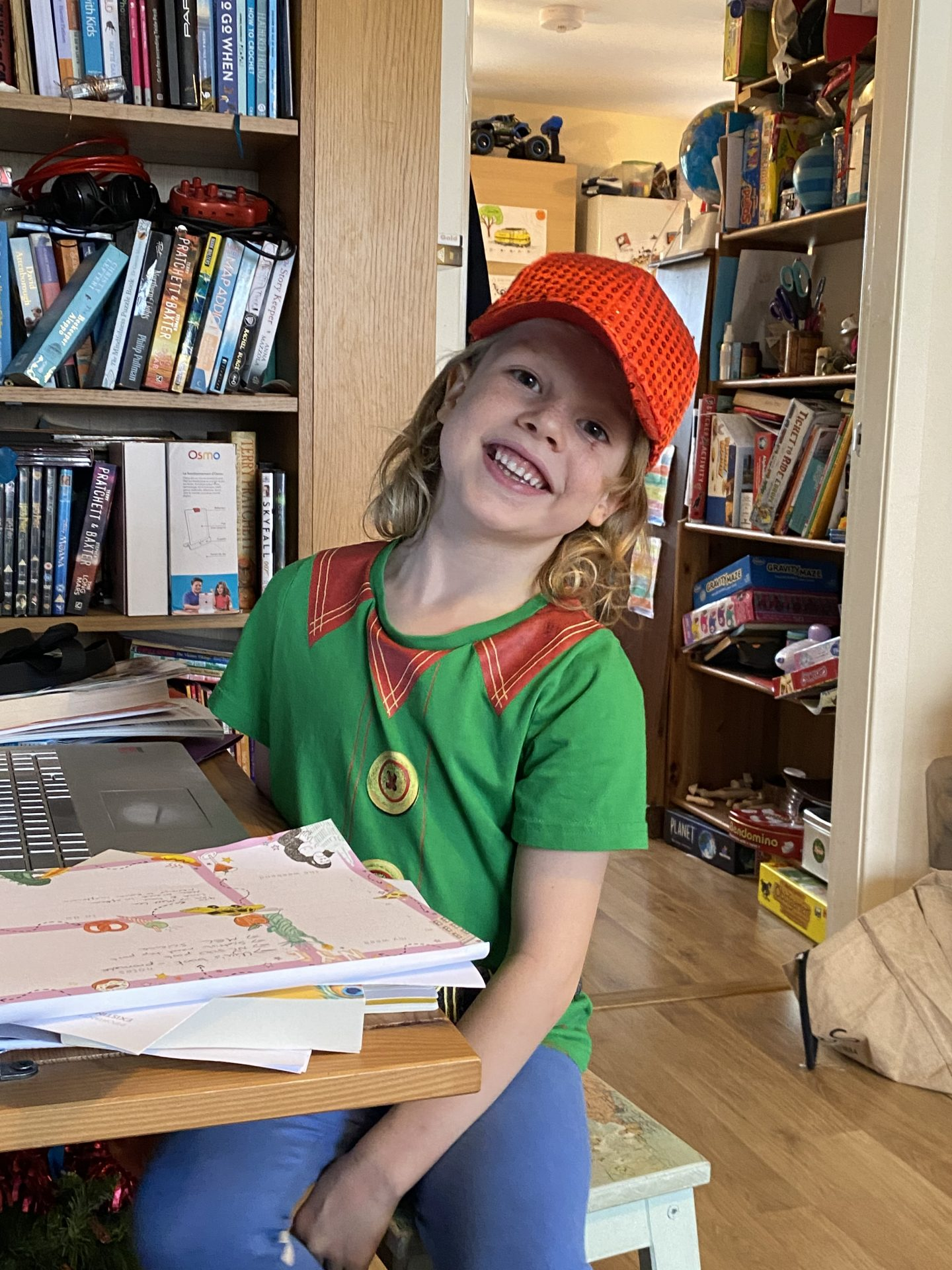 child on Zoom call for drama group
