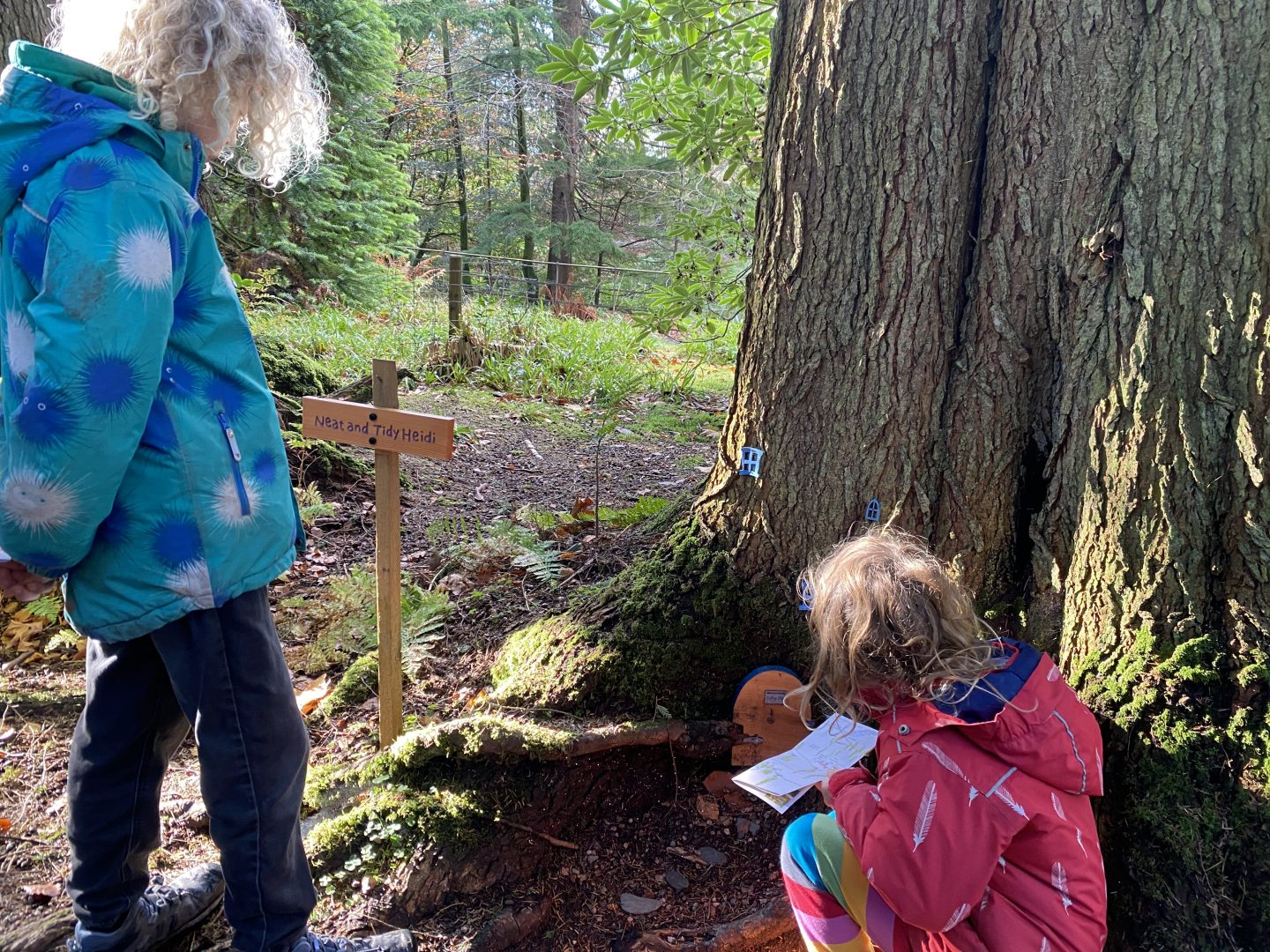 children walking looking at fairy houses