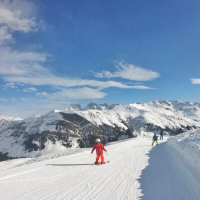 children skiing in the Alps France
