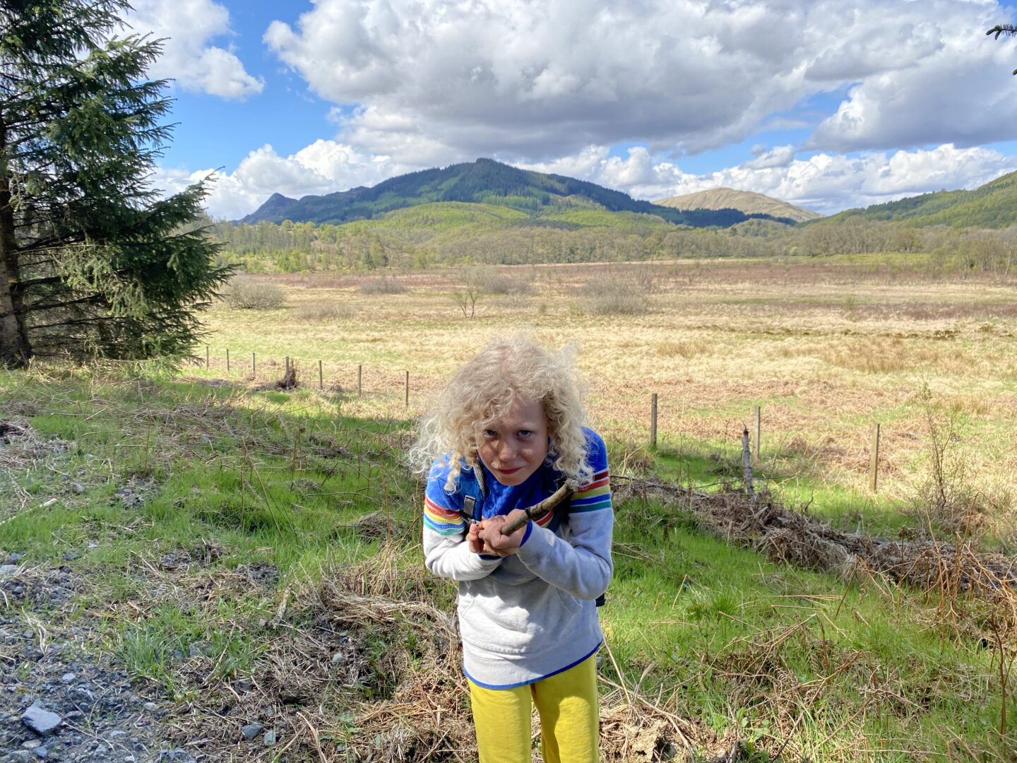 child pointing a stick at camera person with Trossachs behind