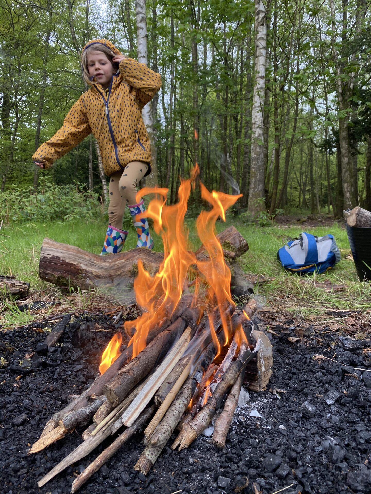 child beside a fire in the woods