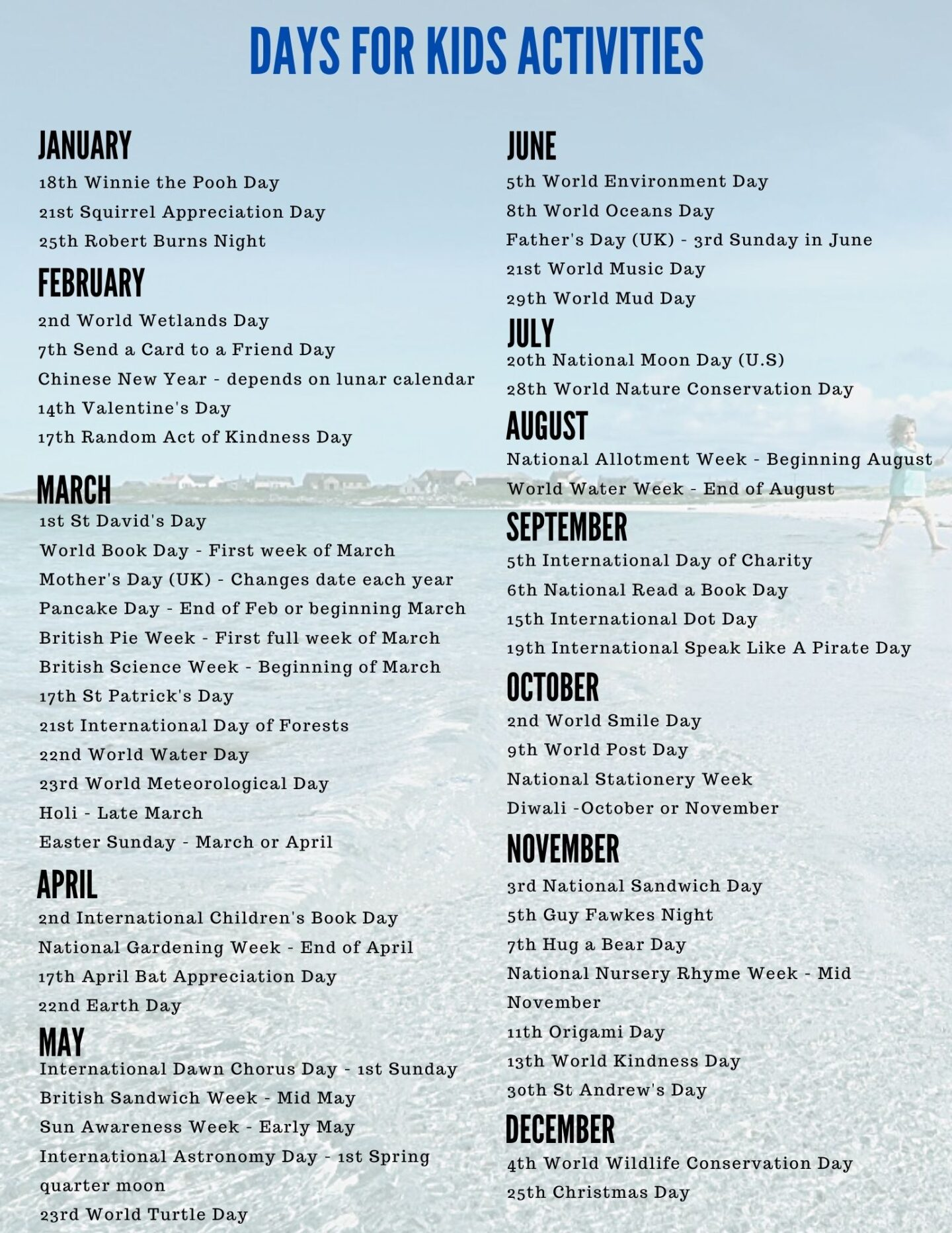 list of national and international days to celebrate