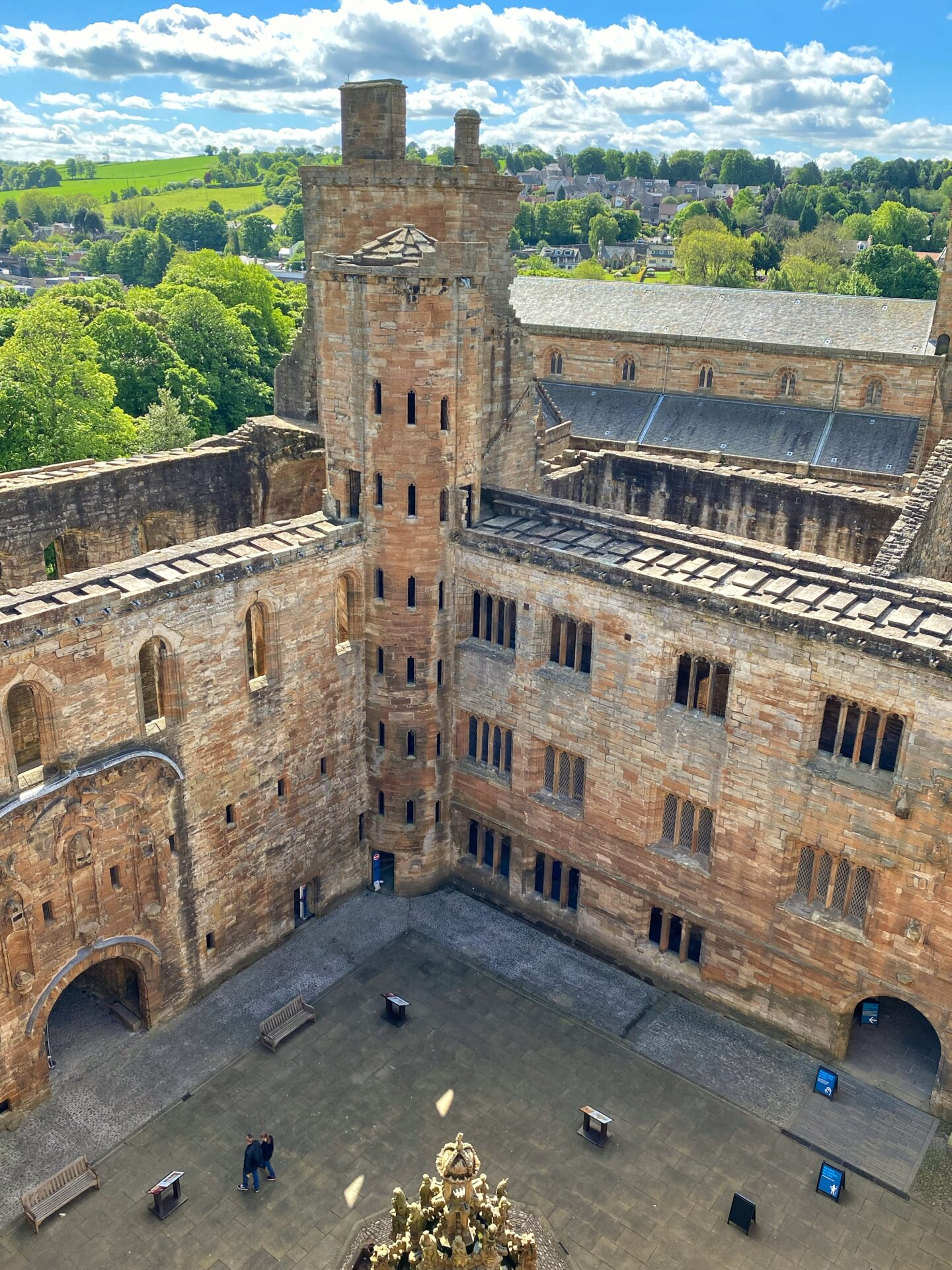 Looking down at Linlithgow Palace from the Queen's bower