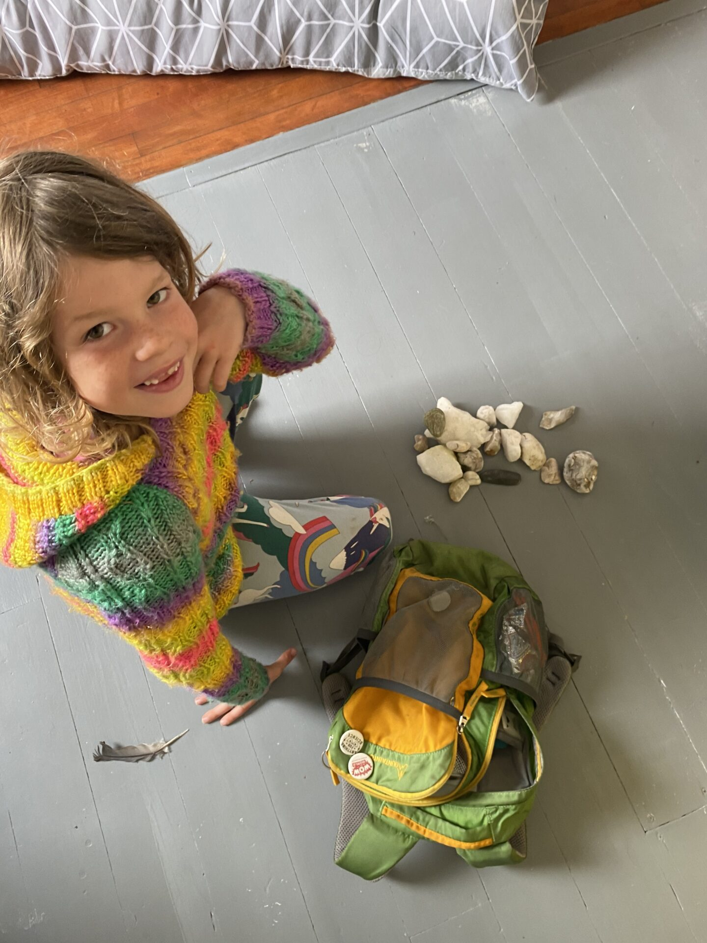 child with a collection of rocks and shells