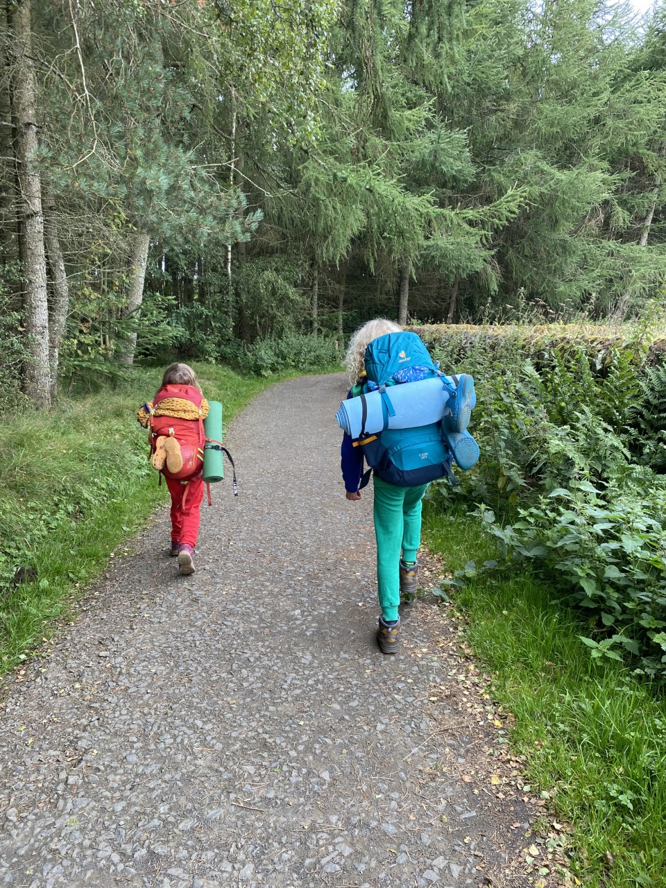 children with rucksacks packed for camping